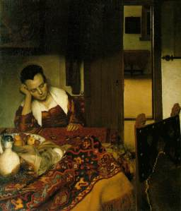 """Girl Asleep at a Table"", pintura feita em 1657 sem o uso da camera obscura."